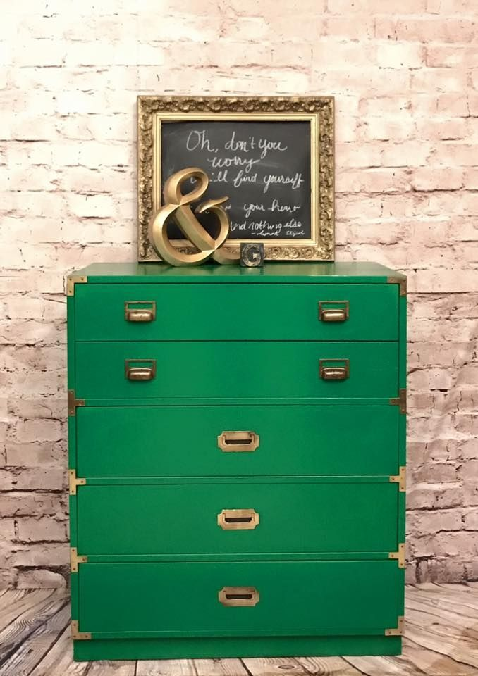 """""""In love! A gorgeous Emerald Green on this Bernhardt campaign chest of drawers combined with the brass hardware...Professionally painted (with General Finishes Emerald Milk Paint) and sealed with High Performance Topcoat."""" - Junque With a Purpose"""