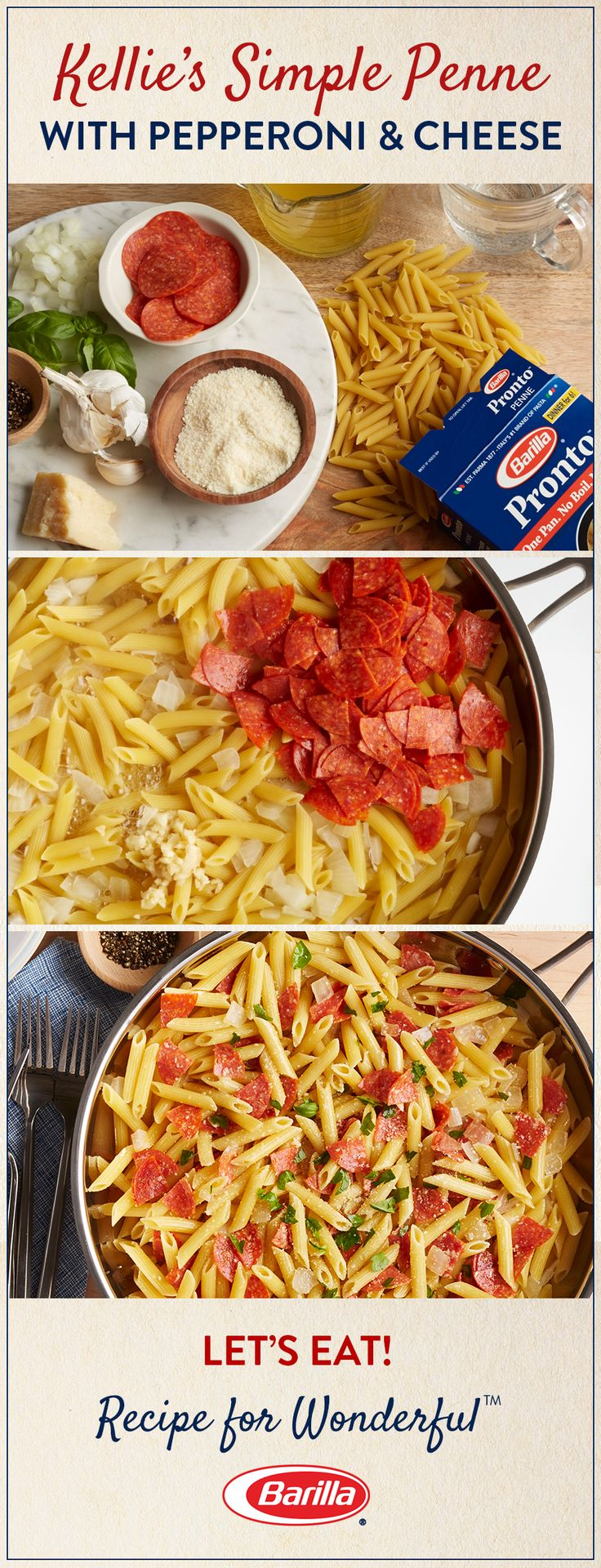 Takeout isn't your only option for a speedy dinner. All of your family's favorite pizza flavors – pepperoni, basil, and cheese – combined with deliciously al dente Barilla penne pasta – and no need to wait for delivery. Try this easy recipe for Kellie's Simple Penne with Pepperoni & Cheese, made in one pan and ready in just 15 minutes.