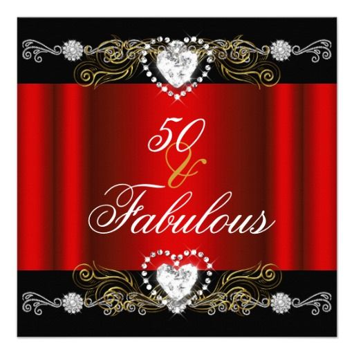 Fabulous 50 Red Black Silver Gold 50th Birthday Custom Invite