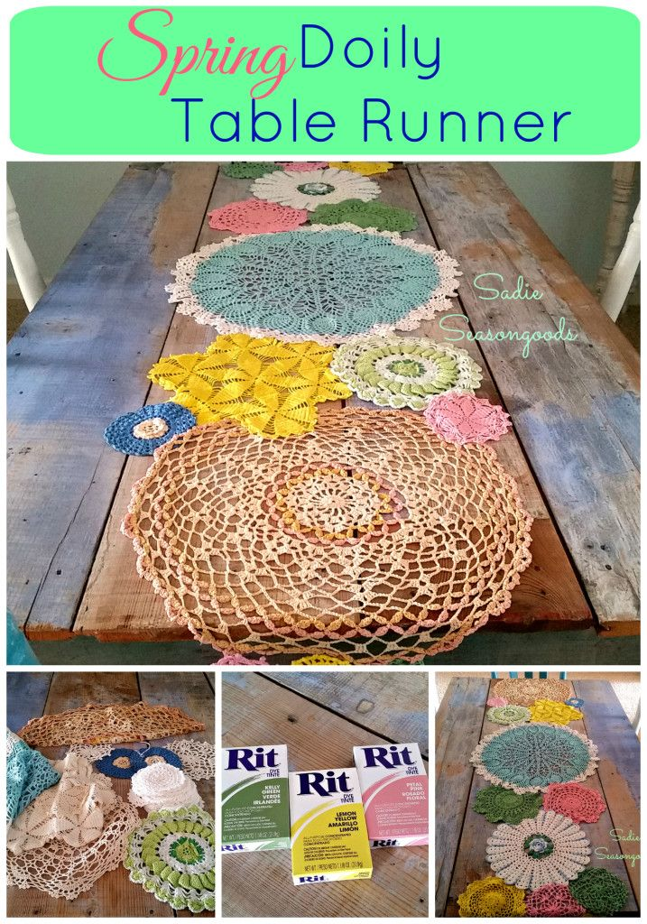 We've all seen the vintage doily table runners in white/cream...but a pretty, colorful runner like this is PERFECT to bring Spring into your home no matter what the thermometer reads. A mix of dyes, sizes, and textures keeps it interesting and perfectly imperfect. A low sew project and a great use for your stash of vintage doilies. #SadieSeasongoods
