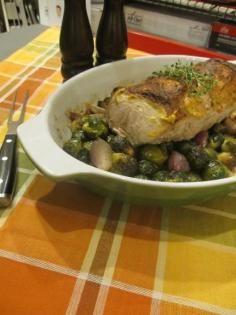 Pork Roast with Brussels Sprouts #pork #JillsTable