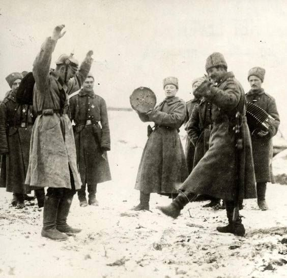 The Great War. First World War Russian army. The Russians teaching the German prisoners of war the cossack dance. The Eastern front Russia 1915.