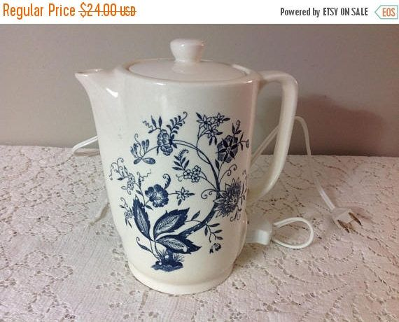 Winter Sale Vintage Electric Teapot Vintage Water Heater Blue and Cream / Ivory Floral Water Heater Japan by MichellesHouse on Etsy https://www.etsy.com/listing/560693253/winter-sale-vintage-electric-teapot