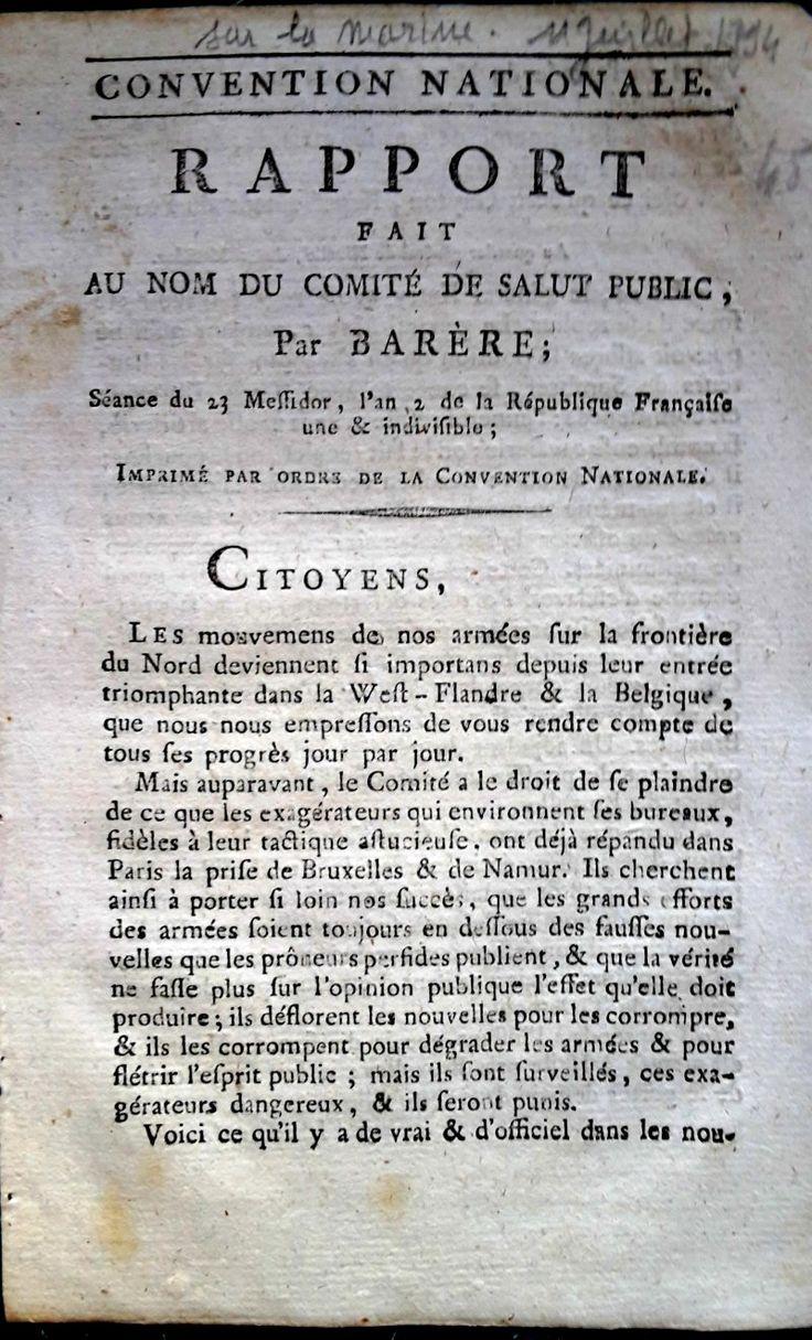 (11 juillet 1794). RAPPORT du Citoyen Barère sur la marine. Bertrand Barère, né le 10 septembre 1755 à Tarbes où il est mort le 13 janvier 1841, ... Bertrand Barère est l'un des orateurs les plus importants de la Révolution.