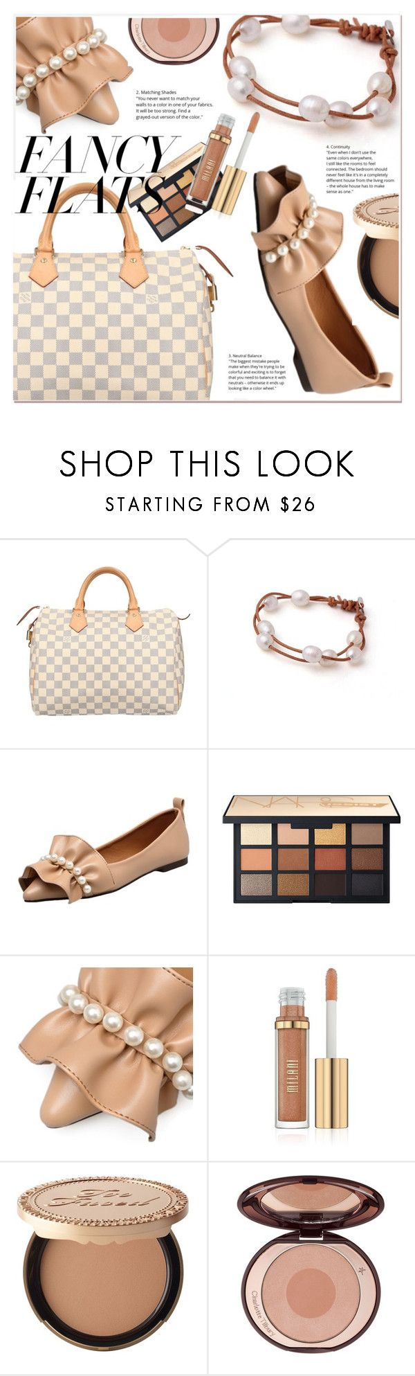 """""""Magic Slippers: Fancy Flats"""" by selmir ❤ liked on Polyvore featuring Louis Vuitton, Too Faced Cosmetics, items, polyvoreeditorial, polyvorefashion, polyvoreset and chicflats"""