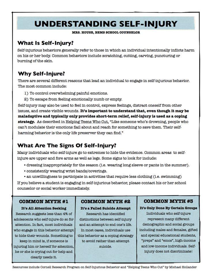 Understanding Self-Injury   Mrs. House's School Counseling Blog