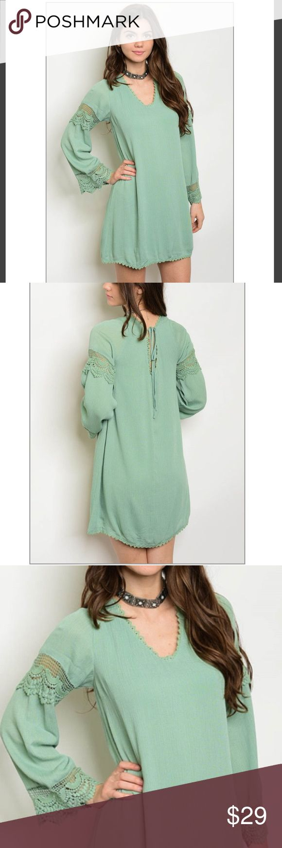 "4 HR SALE! Long sleeve sage Dress Long sleeve sage dress with crochet lace designed sleeves. 100% rayon. Measurements: L: 32"" B: 32 W: 36"". Reasonable offers considered :) Dresses Mini"
