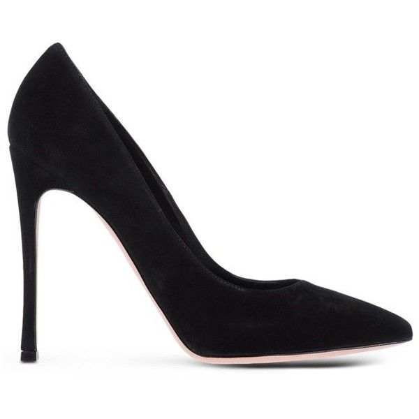 Gianvito Rossi Suede Pointed-Toe Pump found on Polyvore featuring shoes, pumps, heels, high heels, black, high heel pumps, pointed-toe pumps, stiletto pumps, black pointy-toe pumps and high heel shoes