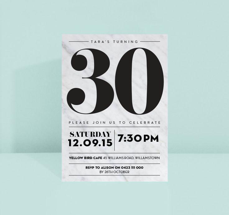 Elegant marble birthday invite 18th 21st 30th 40th 50th