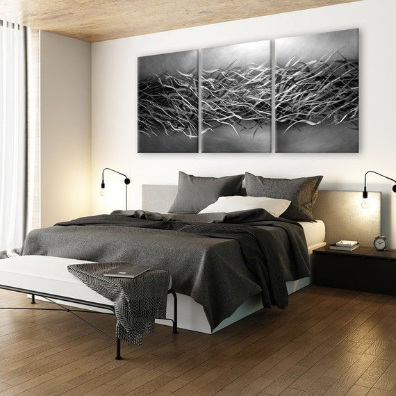 Abstract Metal Wall Art Contemporary Wall Art Black Silver Wall Art Modern Wall Decor Bedroom Wall Silver Wall Art Abstract Metal Wall Art Metal Wall Decor