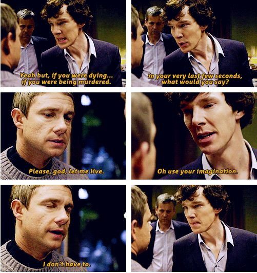 """[gif set] """"You can see the exact moment when Sherlock actually regrets saying that."""""""