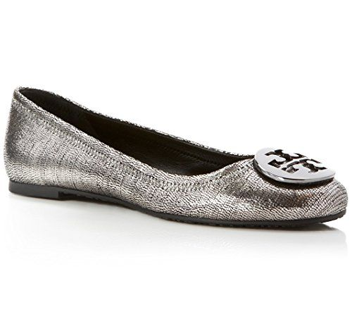 Tory Burch Reva Ballet Flat Leather Shoes SEQUINS Leather Print Pewter (7) ** Visit the image link more details.