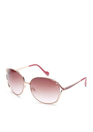 Stand out in style with these Jessica Simpson rose gold sunglasses! Crafted with a round shape and glam look, they're ideal for your collection.