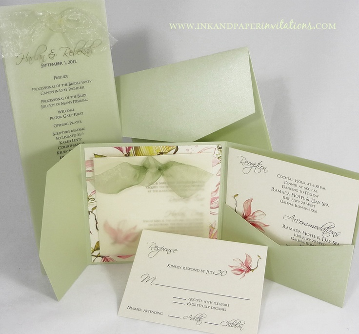 Envelopments Pocketfold  wedding invitation and  program  Vellum overlay  invitation tied with Midori55 best Wedding Invitations images on Pinterest   Programming  . Envelopments Wedding Invitations. Home Design Ideas