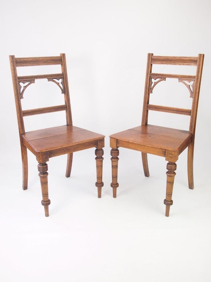 Pair Antique Victorian Oak Hall Chairs - Gothic Side Desk Dining Kitchen Chairs