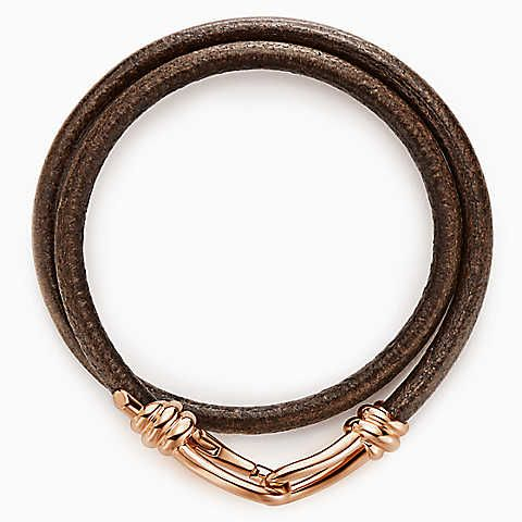 Paloma Picasso® Knot wrap bracelet of 18k rose gold and leather, medium.