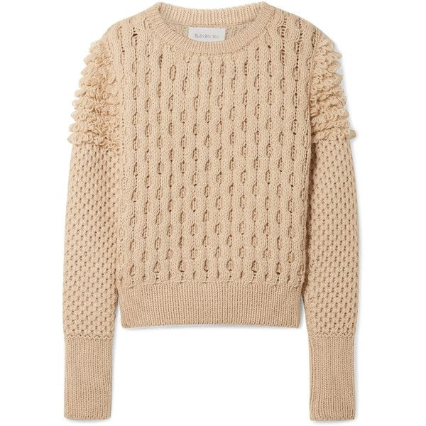 ELEVEN SIX Mila cable-knit sweater (1,525 PEN) ❤ liked on Polyvore featuring tops, sweaters, beige, beige sweater, cable-knit sweater, cable sweaters, beige cable knit sweater and chunky cable knit sweaters