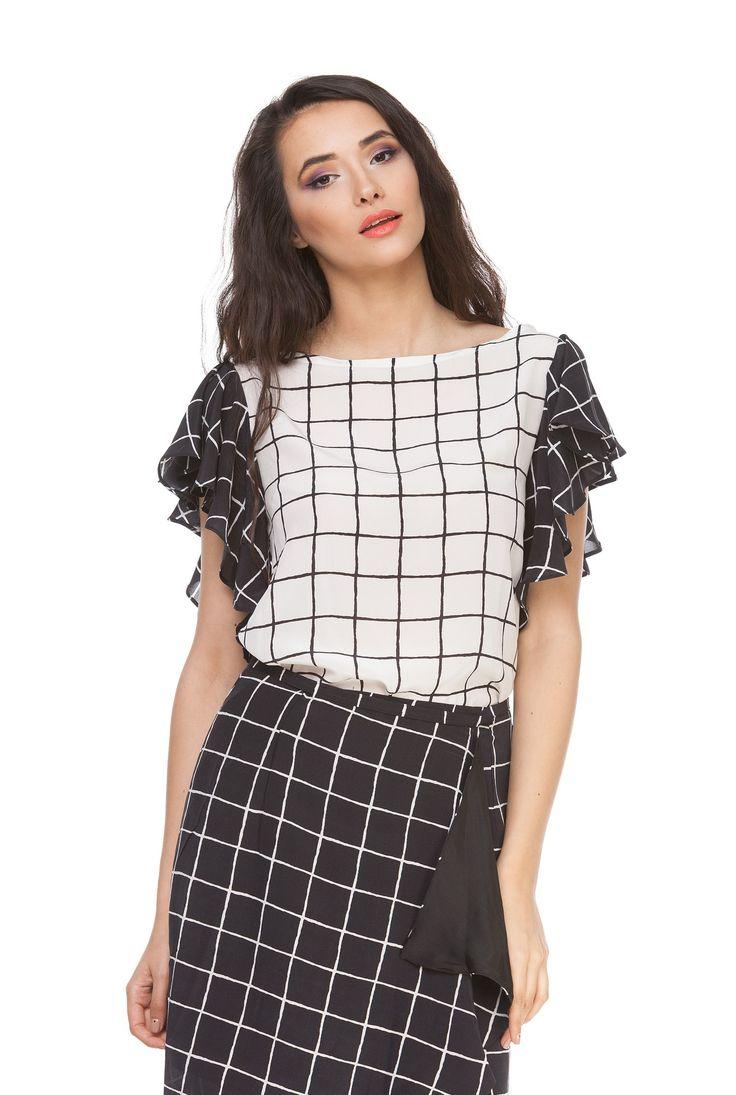Bluza alb cu negru din matase naturala 6022 de la Ama Fashion