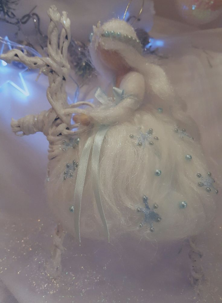Needle felting snow fairy Chistmas inspired Waldorf