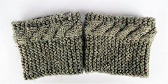 Recycled wool boot cuffs cable knit boot cuffs beige knit