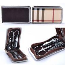 2014 manicure nagelverzorging clipper set 7 stuks nagel gereedschappen pedicure kit met plaid pu lederen case doos j*mpj483#50c(China (Mainland))