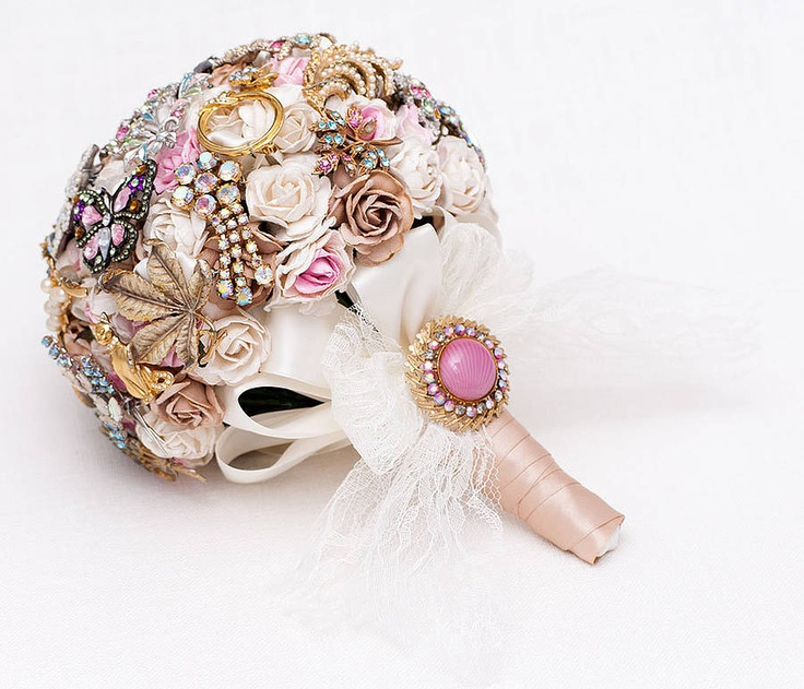 Bouquet created from vintage jewelry