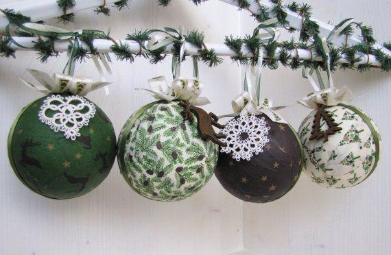 Weihnachtskugeln grün/braun/natur 4er Set
