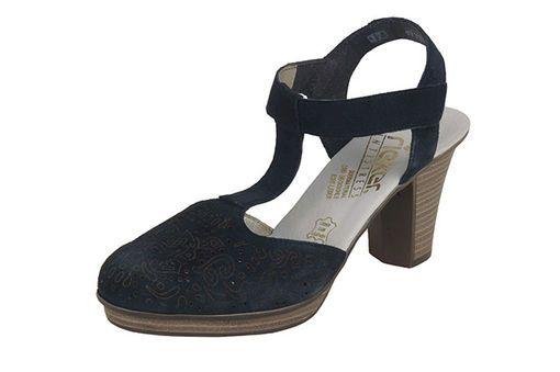 Tmavomodrá dámska uzatvorená sandála na vysokom podpätku