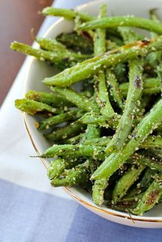 Roasted Green Beans with Parmesan and Basil - Get the easy and delicious side dish recipe on http://RachelCooks.com