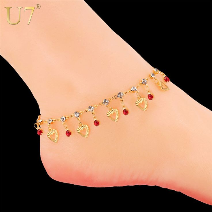 U7 Trendy Heart Anklet Bracelet Foot Jewelry Lover Gift Gold Plated 3 Color Crystal Ankle Chain Bracelet For Women A301