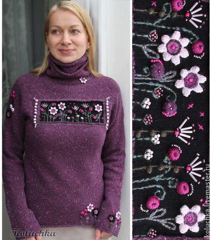 Не грусти))) (утепленный))) - фиолетовый,цветочный,свитер теплый,зимняя одежда