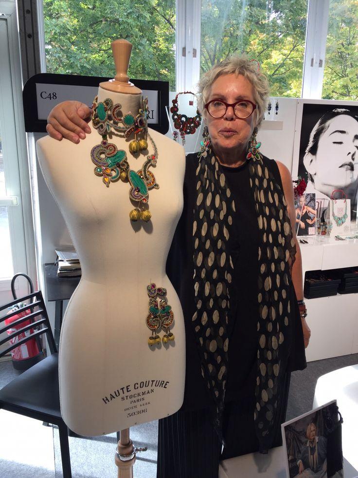 Dori presenting her Haute couture handmade design at the Paris show. #doricsengeri #hautecouture #handmade #design #parisshow