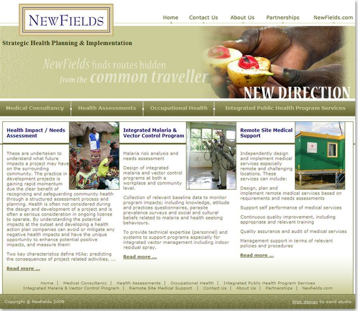 Community website design for New Fields, Strategic Health Planning & Implementation