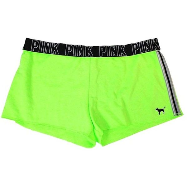 Amazon.com: Victoria Secret PINK Lime Green/Black Beach Shorts... ($26) ❤ liked on Polyvore featuring victoria's secret
