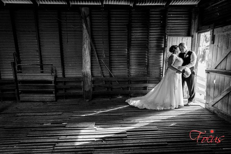 Beautiful Black and White Portrait from a recent Wedding Location Shoot. Shearing Shed and Lighting help to create a beautiful composition and image of a Bride and Groom on their special day.