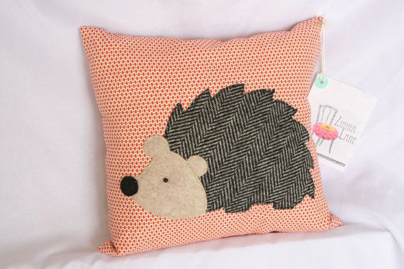 Woodland Hedgehog Applique Pillow by shopzinnialane on Etsy, $25.00