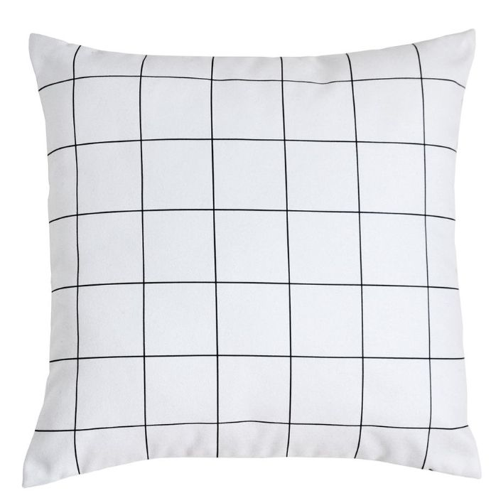 coussin, cushion, noir et blanc, black and white, Heritage Studio, linge de maison, carreaux, rétro