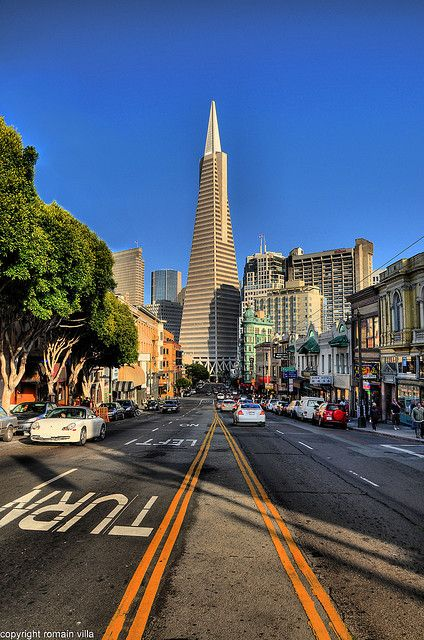 Looking down Columbus toward the Transamerica Pyramid