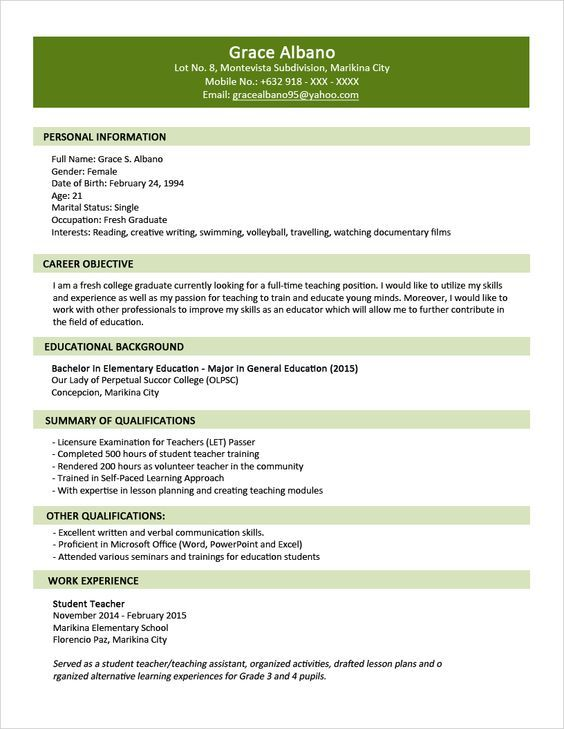 Sample Resume Format For Fresh Graduates   Two Page Format 1.1: