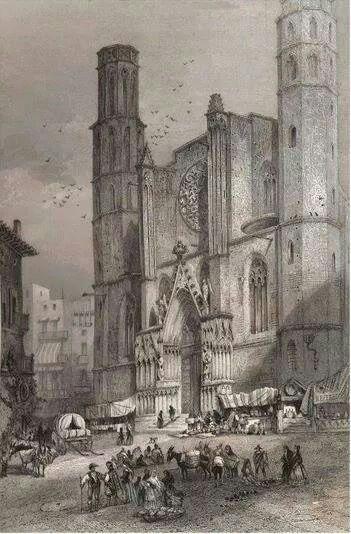 Santa Maria del Mar.1851 - Barcelona, Catalonia.