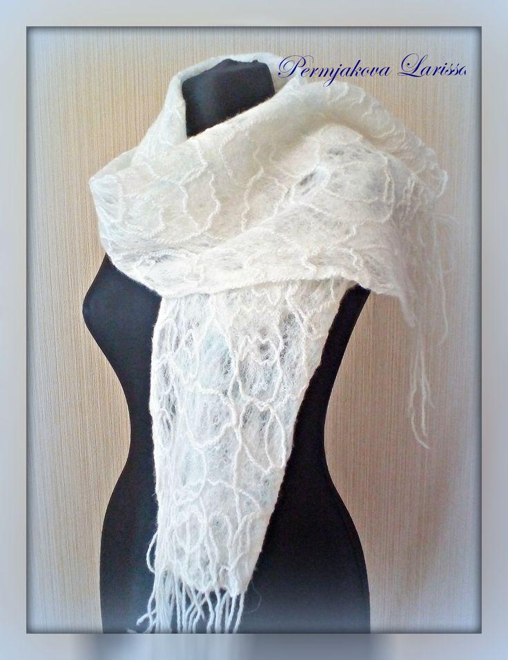ажурный валяный шарф