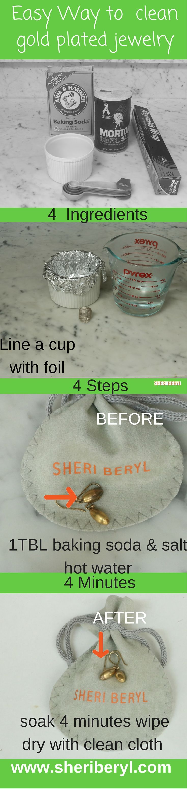 How to clean gold plated and Vermeil jewelry in 4 easy steps, 4 ingredients, 4 minutes  Special care needs to be take with plated pieces to maintain the finish and keep them looking like new.