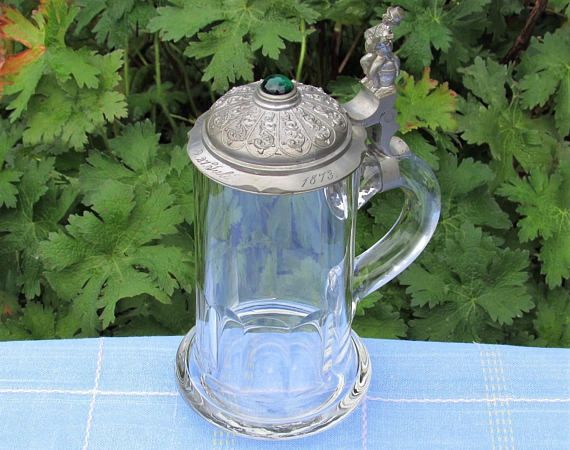 1873 German Glass Beer Stein Forest Green stone dated W.