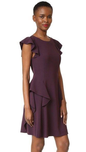 Rebecca Taylor Платье с оборками и короткими рукавами