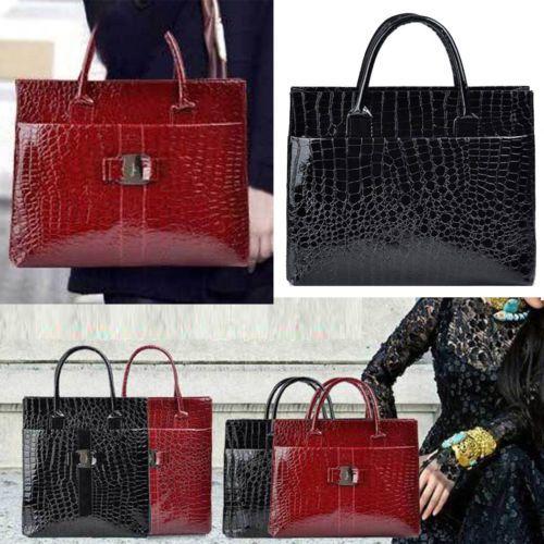 2 Size Two Color Women Luxury OL Lady Crocodile Pattern Hobo Handbag Tote Bag[Black,Vertical version]