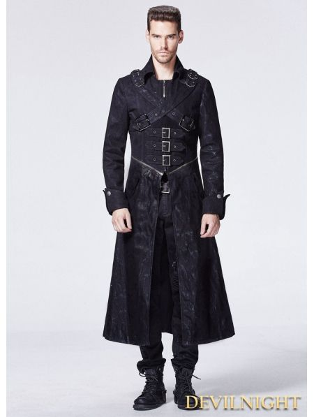 Black Gothic Punk Cross Long Trench Coat for Men - Devilnight.co.uk
