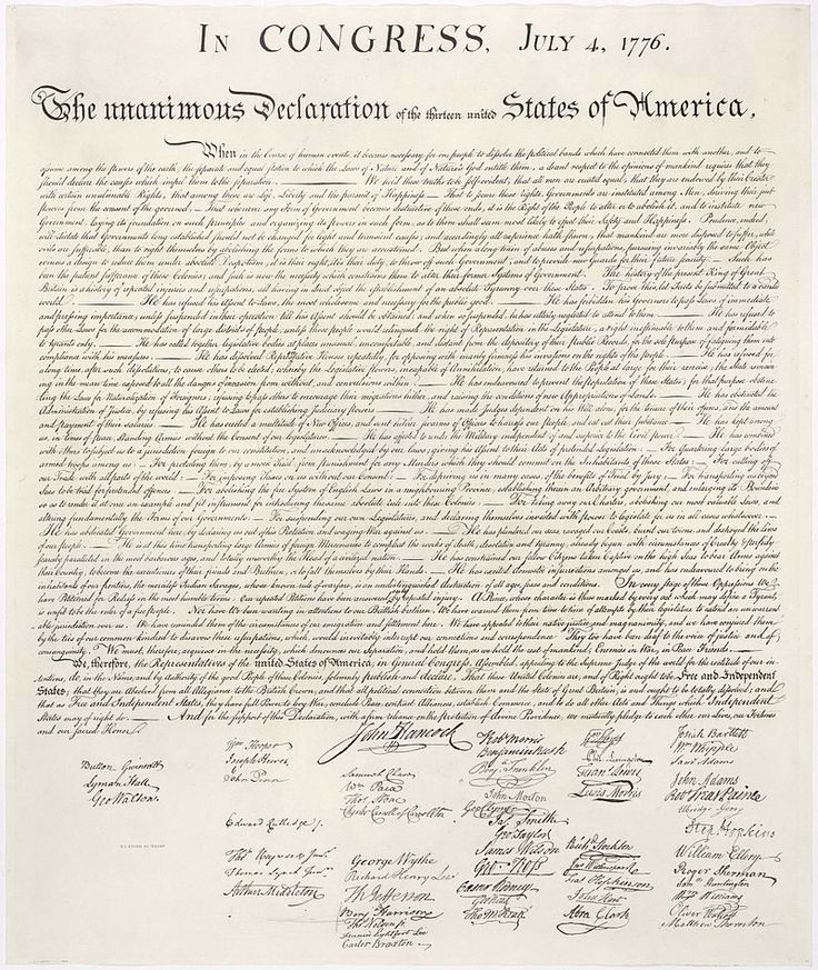 July 4 1776 - The unanimous Declaration of the thirteen united States of America