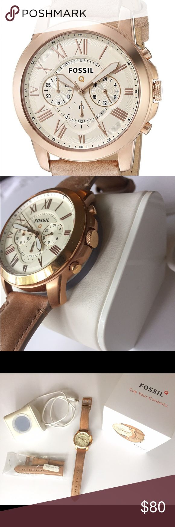 """Fossil Q Grant Smartwatch - 1st Gen Sand Leather Like new! Only worn for about six months before I upgraded to the Apple Watch. Loved the look of a watch with the functionality of a smartwatch.   """"Fashionable take on wearable tech— 44 mm case in rose gold-tone & tan leather calfskin band. Receive filtered LED color-coded notifications from contacts. Track everything from steps to calories. Compatible w. Fossil brand 22mm straps. Compatible with Android & iOS operating systems. Bluetooth…"""