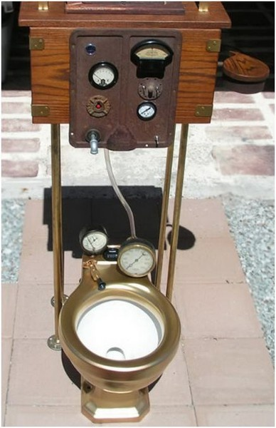 For the Eco warrior - this utilises your natural methane and dials record how much 'power' your waste has produced with your 'strenuous activity ' being rewarded by free energy production / but idea never caught on for some 'inexplicable ' reason !! ( wonder why ? ) - Maybe the 'meter man ' objected to his extra tasking his boss insisted he do ? He said he doesn't DO / DOINGS !! ( lol )