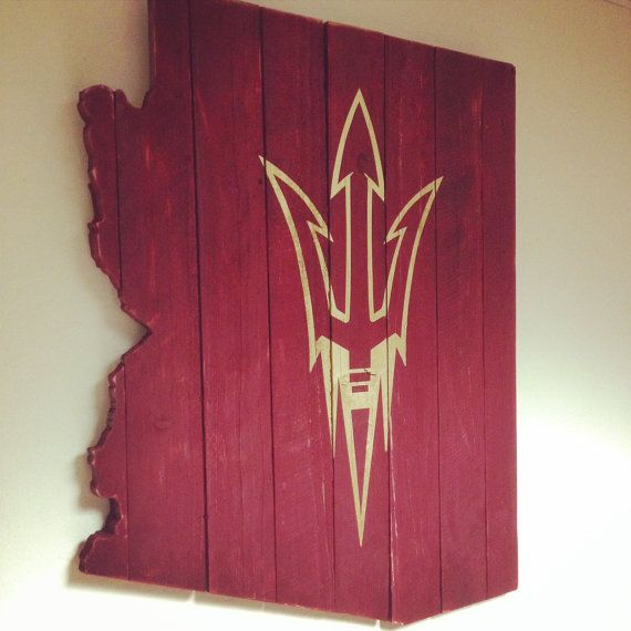 LARGE Arizona State University Gold Pitchfork Painted on Maroon Fence Posts…